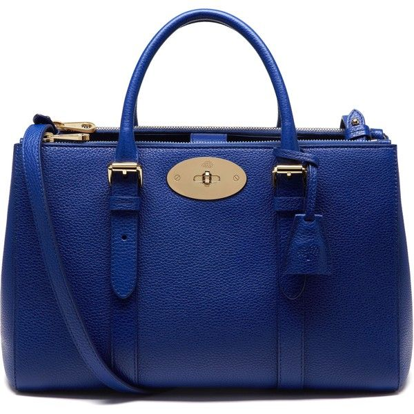 Mulberry Small Bayswater Double Zip Tote (£1,200) ❤ liked on Polyvore featuring bags, handbags, tote bags, neon blue, leather purse, blue purse, leather tote bags, blue leather handbag and mini tote bag