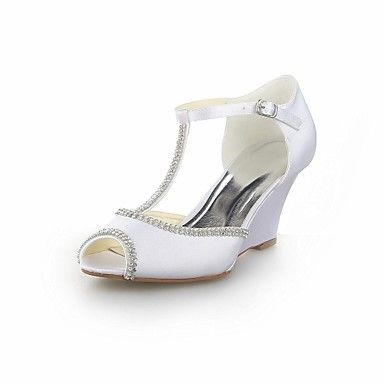 Women's Shoes Wedges  Wedge Heel Satin  Sandals with Crystal Wedding Shoes More Colors available – USD $ 54.99