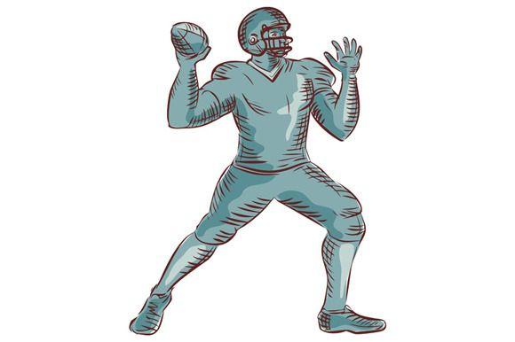 American Football QB Throwing Etchin by patrimonio on Creative Market
