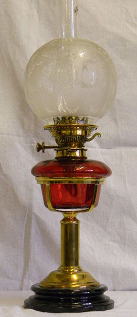 Victorian Oil Lamp having Original Round Etched Shade with Cranberry Font with Brass Column and Pottery Base Under Circa 1890