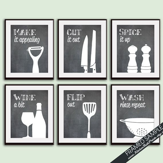 funny kitchen art print set whisk grater mixer rolling pin honey - Kitchen Art Ideas