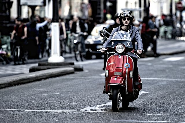 Beautiful red Vespa PX, Paris