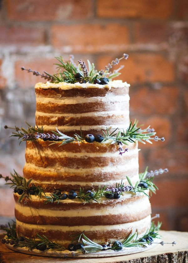 Rustic naked wedding cake with lavender, rosemary and blueberries // Sarah Brittain Edwards Photography // The Natural Wedding Company