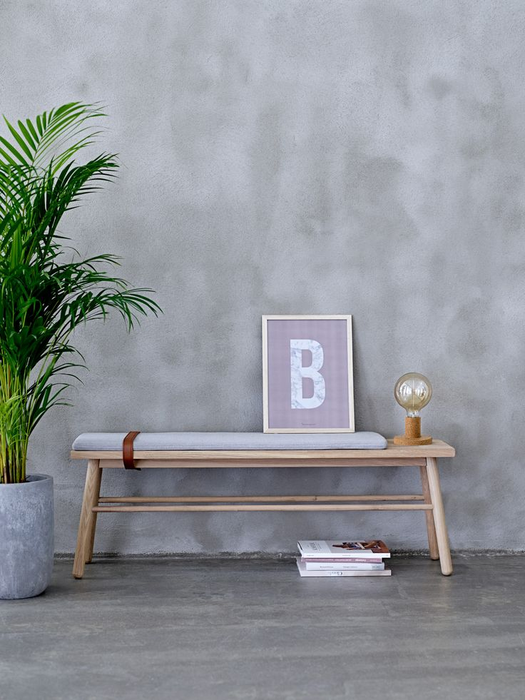 Moderne Design Holzbank Eiche m. Polster u. Lederriemen