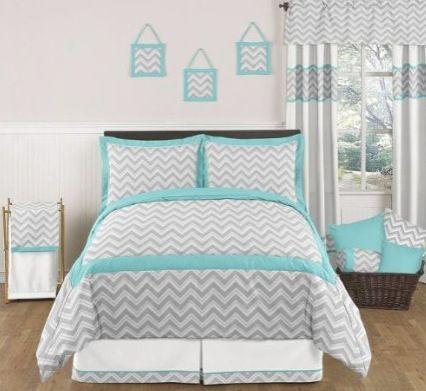 Grey and turquoise chevron zig zag queen comforter set.