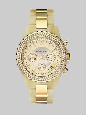 Michael Kors Horn-Look Link Bracelet Chronograph Watch - Gold
