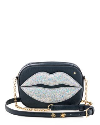 Read our lips: We're in love with Charlotte Olympia's glitter-kissed leather shoulder bag for day or night. | Leather | Made in Italy | Adjustable shoulder strap   | Zip closure; lined   | Interior zi