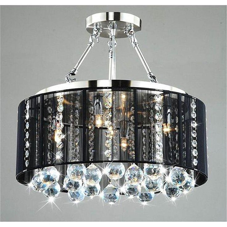 Dark Chrome Ceiling Lights : Black drum shade chrome crystal ceiling chandelier pendant
