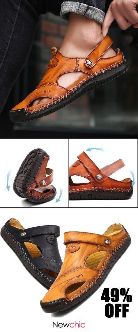 a5e1630b4ed  49%off Menico Men Hand Stitching Soft Outdoor Closed Toe Leather Sandals   mensshoes  sandals  style