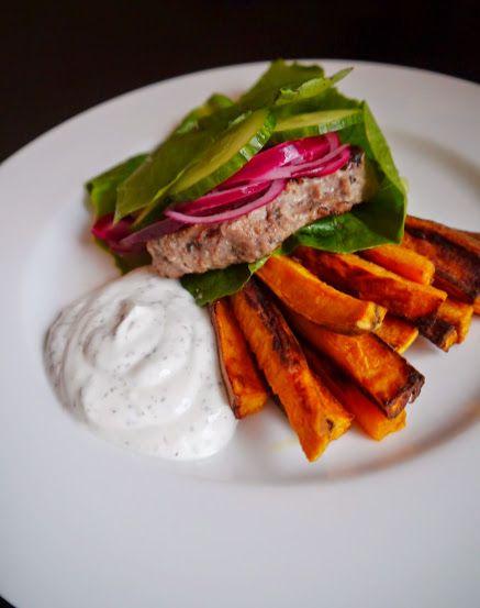 Burger with sweetpotato Fries, recipe in blog!