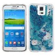 Blue Stars Clear Liquid Glitter Bling Case Cover For Samsung Galaxy S 5 S5