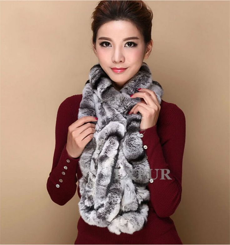 Fashion Womens Real Knitted Rex Rabbit Fur Scarves Natural Fur Neckerchief Winter Long Wraps LX00520