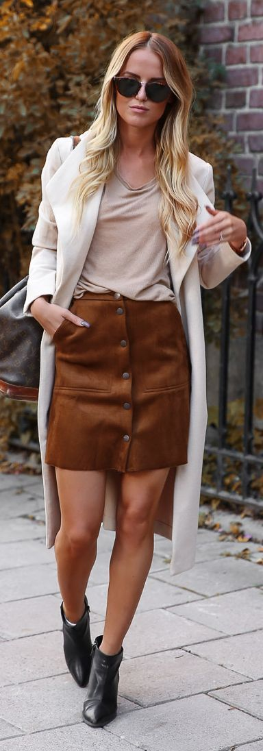 Camel Suede Button Skirt Fall Inspo by By Kiki