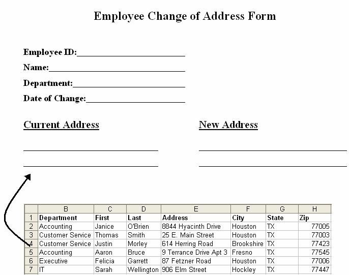 Employee Change Of Address Form Change Of Address Mail Merge Words