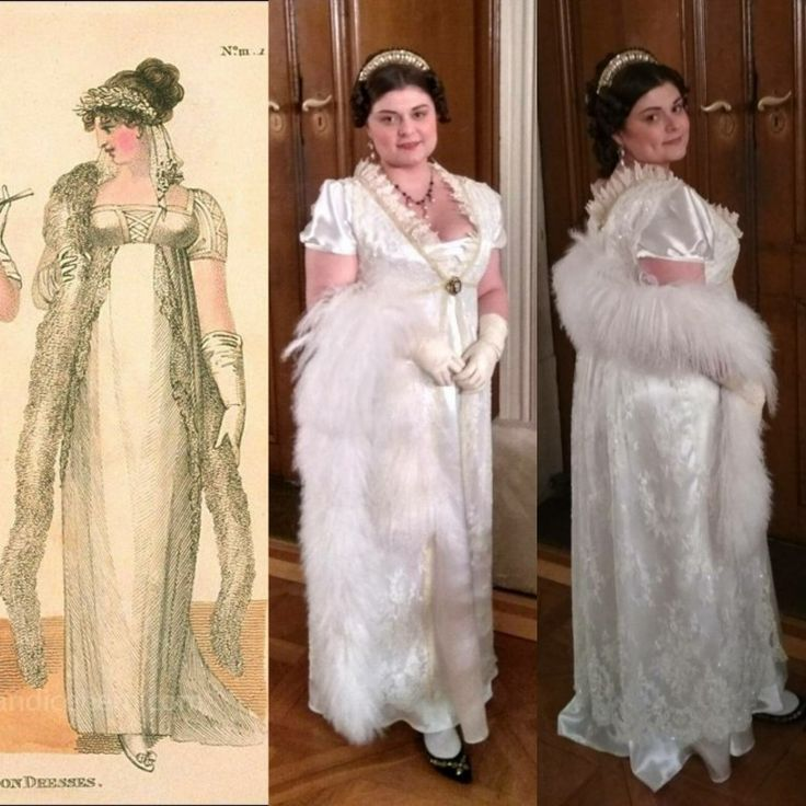 White regency sateen gown. Made according to the inspiration of the fashion plate.