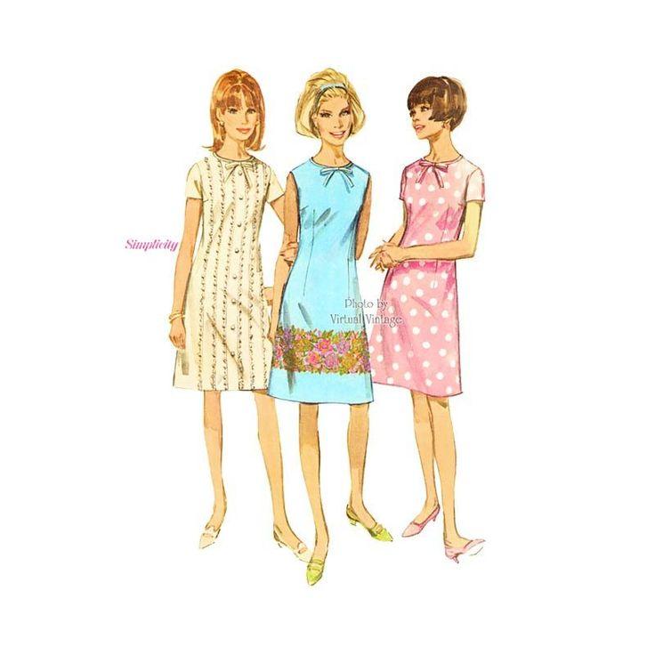 1960s Shift Dress Pattern, Simplicity 6965, Short Sleeve or Sleeveless A line Dress Bust 34, Uncut