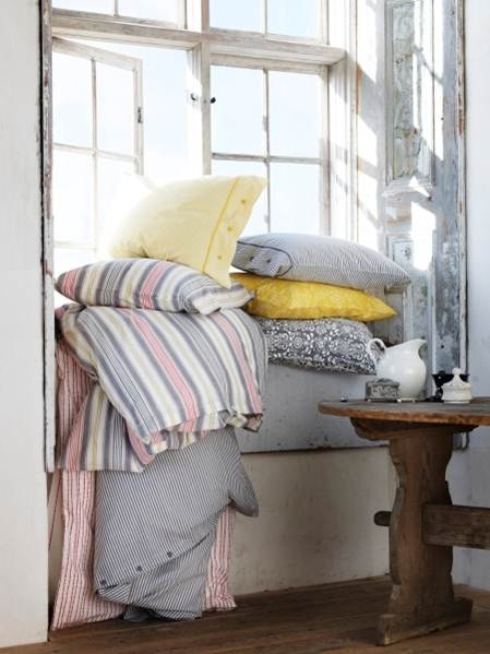 New Swedish country style textiles like ÅKERFRÄKEN, and NYPONROS feature stripes and floral patterns.