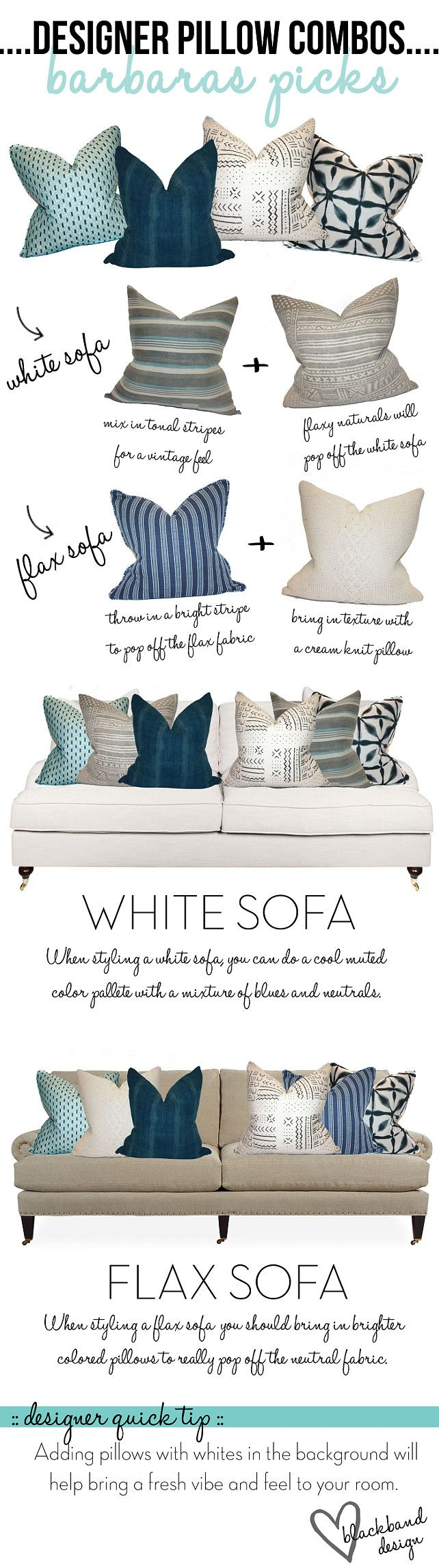 Designer Pillow Combos. Designer Pillow Combo Ideas. Perfect pillow combos for white sofa or flax sofa. #PillowCombos Blackband Design.