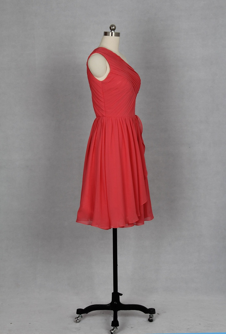 One Shoulder Short Coral Bridesmaid Dress 2013 by DressbLee, $89.00