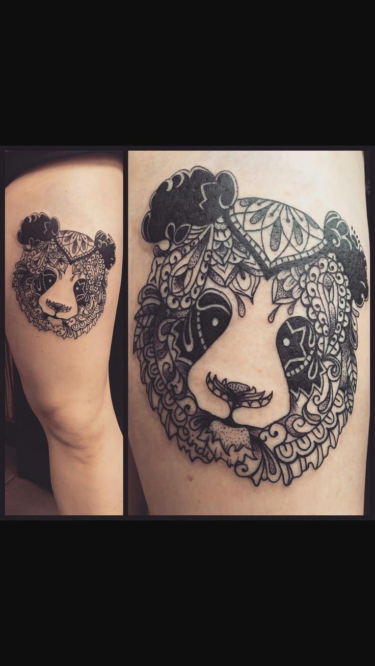 Mandala panda tattoo! | Tattoos | Animal tattoos, Bear ...