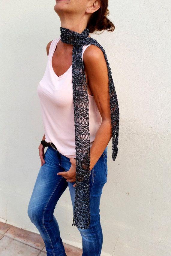 Skinny black scarf, Trendy skinny scarves. Black por EstherTg