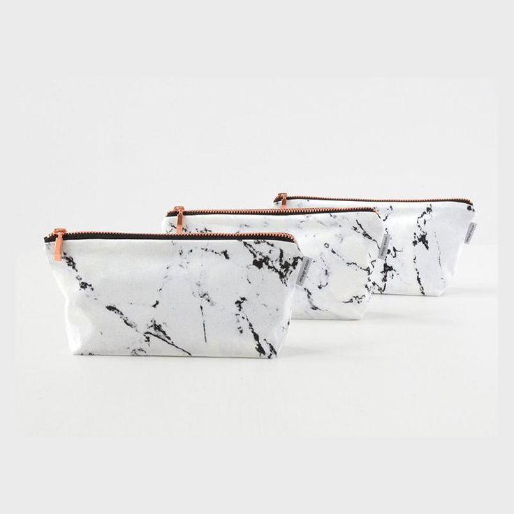 Renna Deluxe Marble & Copper Pouch Case Makeup Bag ($19.55) Pinterest: Wellness & Wanderlust