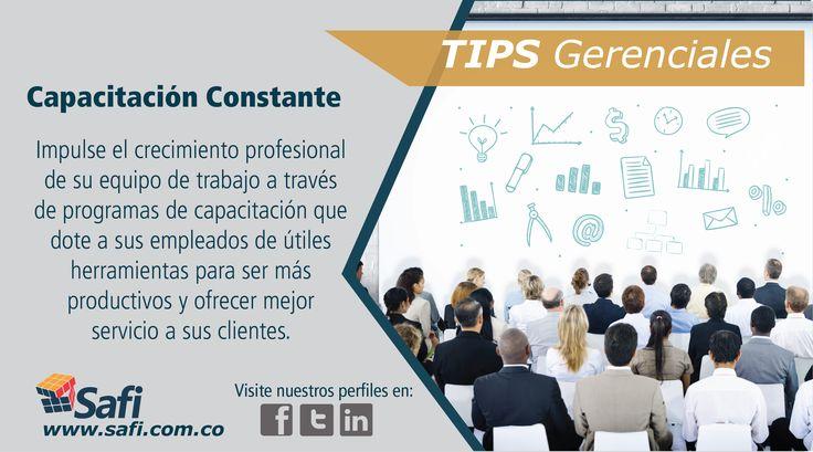 La capacitación constante de usted y su equipo , le ayudaran a ofrecer un excelente servicio a sus clientes. #Fácilgerenciar www.safi.com.co