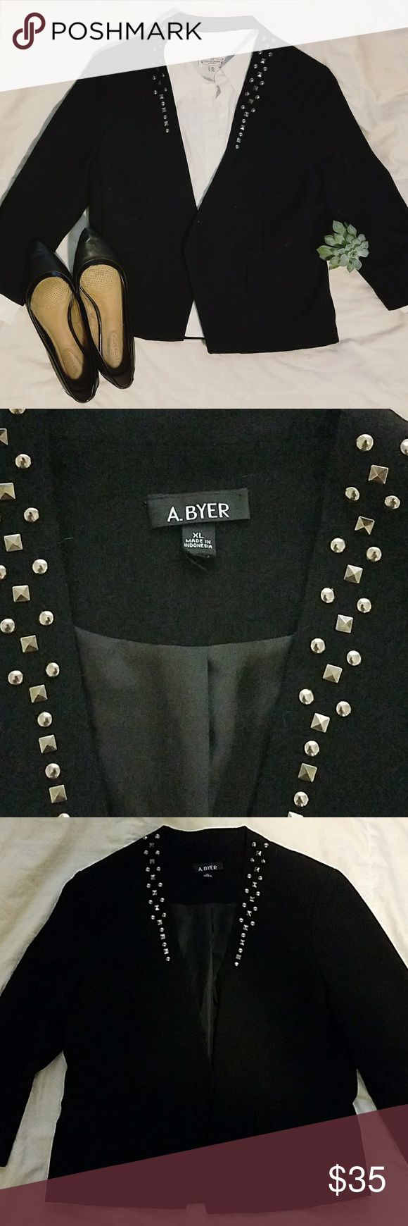 Casual studded black blazer with 3/4 sleeves A cute and casual A. Byer black blazer with silver studs along the collar. The sleeves are 3/4 and are scrunchy. Goes great with a nice pair of dark jeans! Make me an offer. Jackets & Coats Blazers