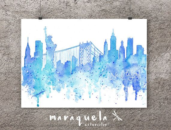 Skyline de Nueva York EEUU acuarela original hecho a mano.Pintura Nueva York, lámina Nueva York.Skyline New York america, estados unidos. New York Skyline Blue hues, watercolor, skyliner New York, USA , art print, poster NY ,gift new york, decoration NY trip, wall art new york. By MARAQUELA WATERCOLOR