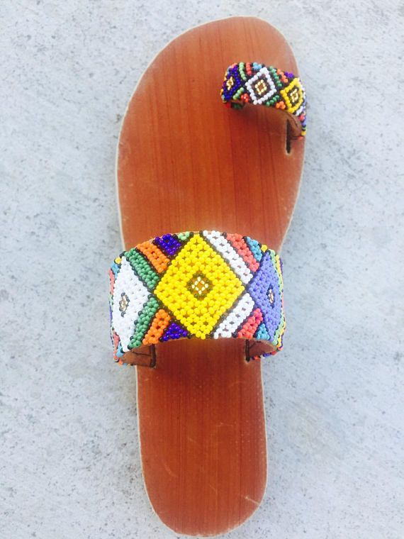 92465b5e276f4e Multi-colors - Size  Ladies 7 UK (9 US) Handmade leather sandals beaded in  Zulu beading designs. The shoes are durable and will comp…