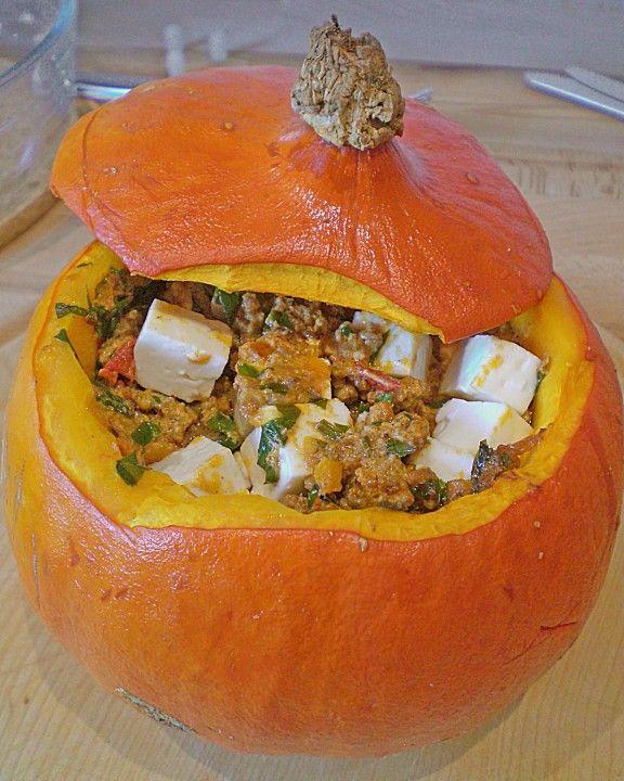 Gefüllter Hokkaido - Kürbis, ein schönes Rezept aus der Kategorie Halloween…