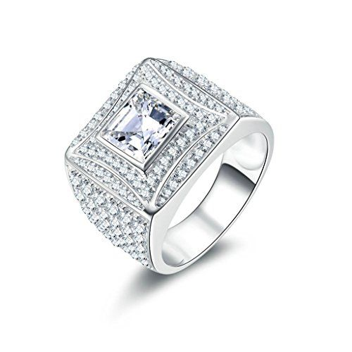 Epinki 925 Sterling Silver MenS Ring Wedding Rings Engagement Rings With Square Cubic Zirconia Size 9 *** Check out the image by visiting the link.
