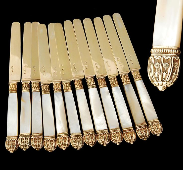 Boxed French Vermeil Silver & Mother of Pearl 12pc Knife Set-Epoque Restoration-1819-1838