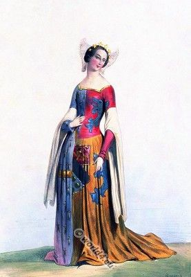Duchess of Brittany. French middle ages clothing. Gothic costumes, Medieval female costume.