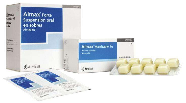 ALMAGAT (ALMAX). (ANTIÀCID). INDICACIONES: Alivio y tto. sintomático de la acidez y ardor de estómago en ads. y > de 12 años.