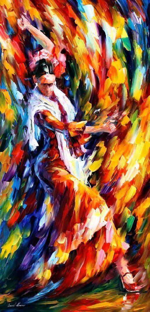 Flamenco Dancer Palette Knife Figure Dance by AfremovArtStudio