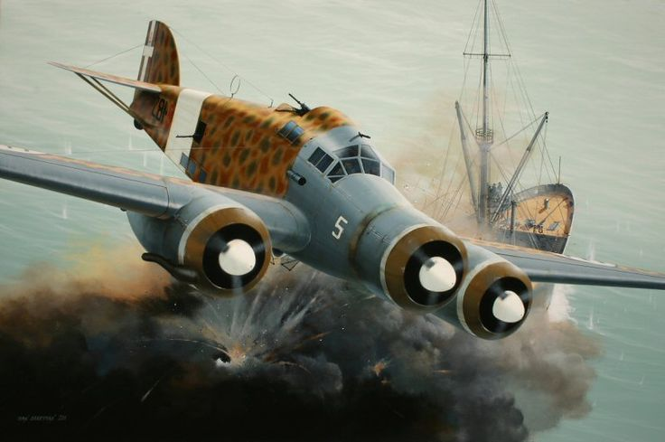 Defender of the Med by Ivan Berryman. Among the most celebrated of Italian bomber pilots was Capitano Carlo Emanuele Buscaglia, seen here claiming another victim in his Savoia-Marchetti SM.79, 281-5, of the 281a Suadriglia based in Libya in 1940. Their daring daylight attacks on Allied shipping in the Mediterranean caused havoc with the convoys that plied between Malta and Allied territories, with thousands of tonnes of shipping being sent to the bottom.