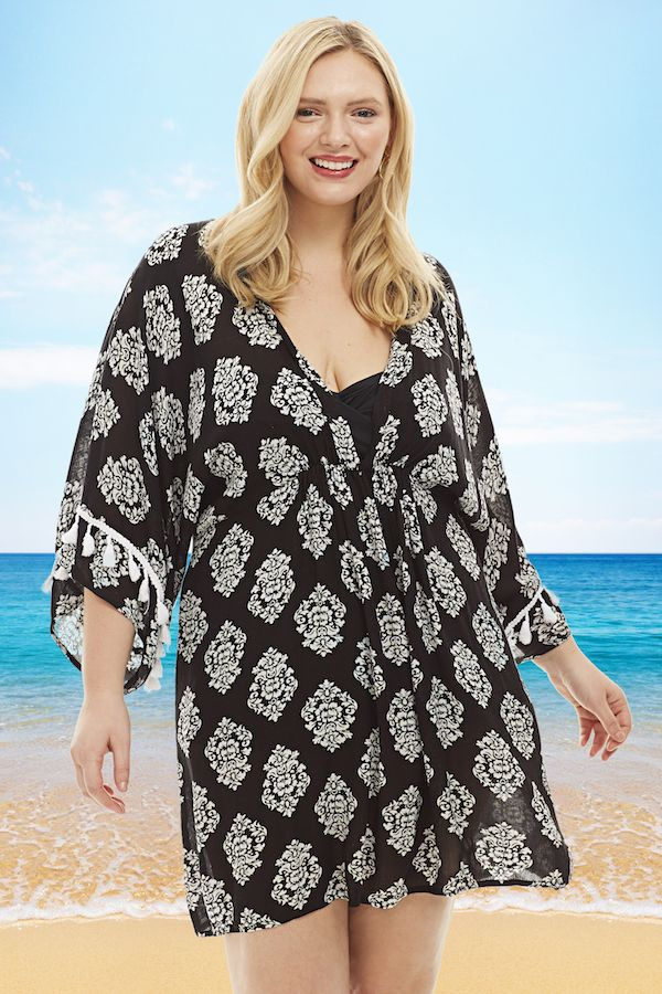 In A Black And White Tribal Print This Plus Size Cover Up Is The Perfect Amount Of Design For Wherever Yo Plus Size Cover Up Plus Size Black Swimsuit Cover Up