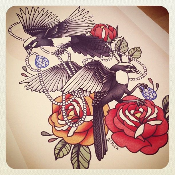 Traditional magpie tattoo - photo#35