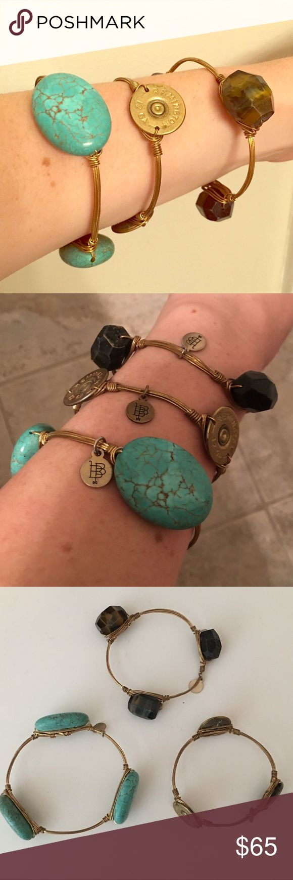 Bourbon & Bowties Bracelets (Price Is For Total) 1- Turquoise ($25) 2- Gold Bullet ($20) 3- Tiger Eye ($20) **Comment which one you want and I will create a separate listing :) Bourbon and Bowties Jewelry Bracelets