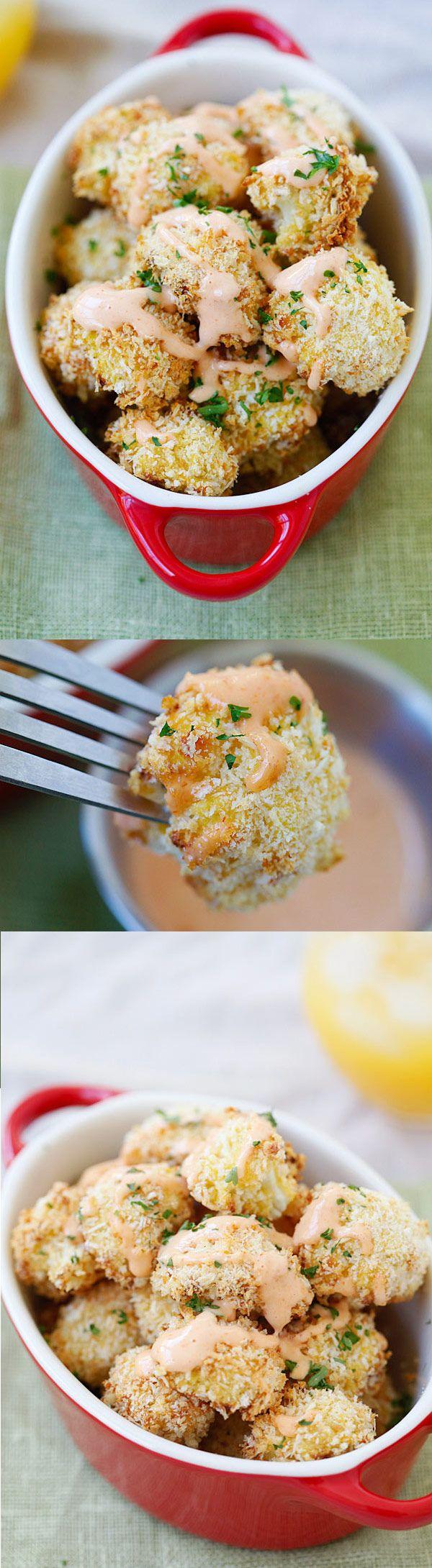 Parmesan Baked Cauliflower – crispy, healthy cauliflower coated with Parmesan cheese and panko bread crumbs. Easy, yummy and so good! | rasamalaysia.com