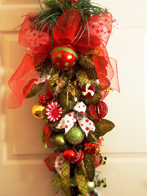 Christmas Teardrop Swag with Large Bow by PataylaFloralDesigns