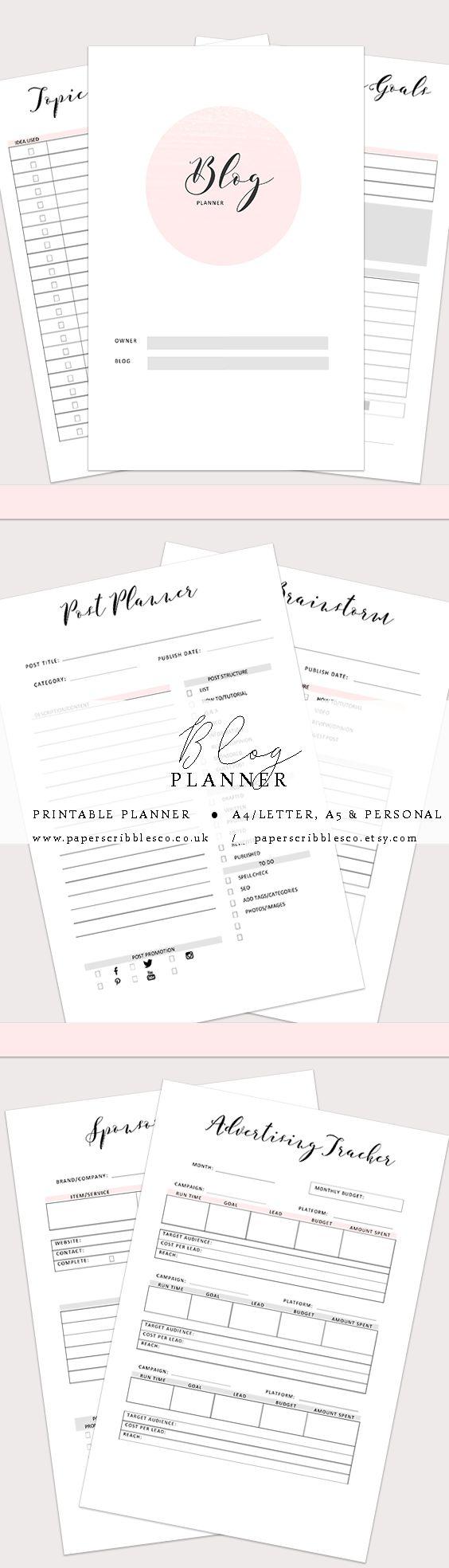 Blog Planner | Social Media Planner | Printable Planner Inserts | New Bloggers | Blog Business | Blog Organisation | Blog Binder | Planner Inserts