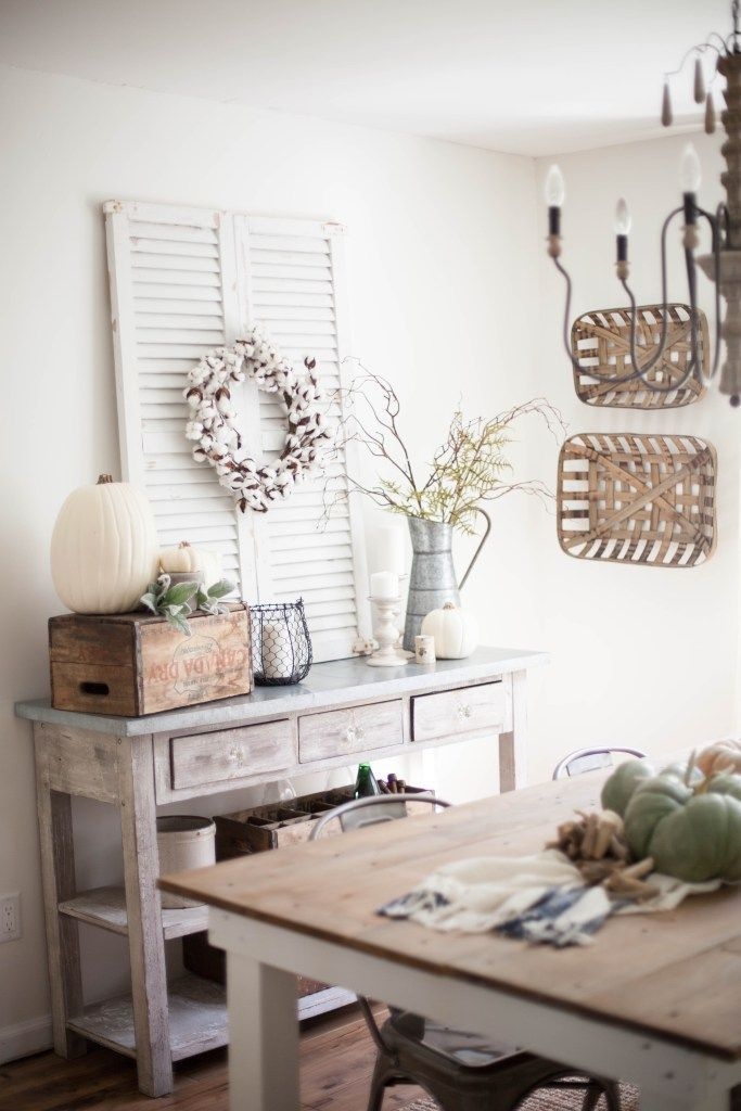 Simple White Themed Dining Room Design Ideas: Home // Fall Farmhouse Dining Room