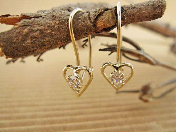 Girl Earrings - Solid Gold Earrings, 14 karat, Girls Jewelry, Gold Earrings for sale, Earring, Girls Earring for sale, Children's Jewelry
