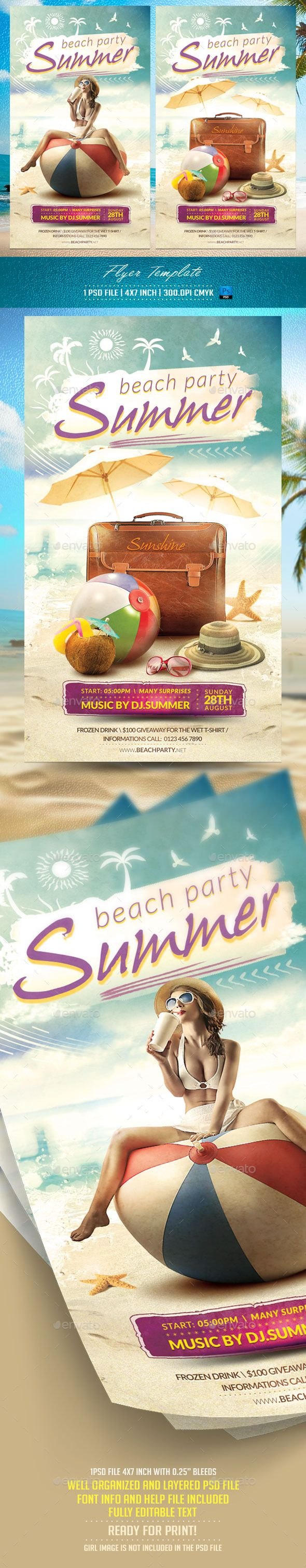 Summer Flyer Template v2 — Photoshop PSD #water #retro • Available here → https://graphicriver.net/item/summer-flyer-template-v2/12055623?ref=pxcr