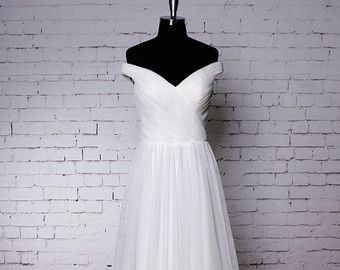 Spaghetti Straps Wedding Dress Tulle Skirt Bridal by LaceBridal