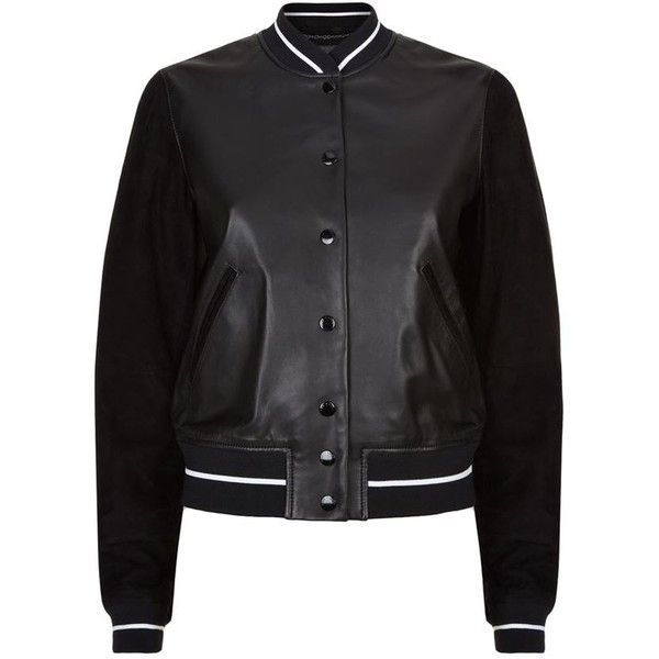 Rag & Bone Alix Leather Varsity Jacket ($1,235) ❤ liked on Polyvore featuring outerwear, jackets, tops, black, sports letterman jackets, rag bone jacket, genuine leather jackets, real leather jackets and college jacket