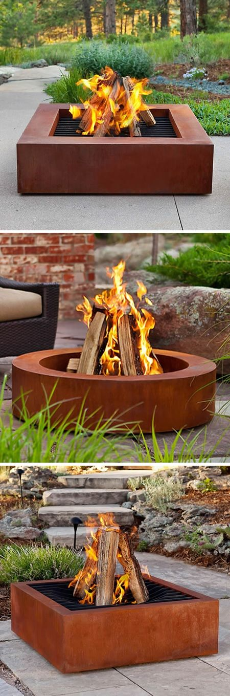 Heavy Duty Cor-Ten Steel Fire Pits - could be made from old joists/metal beams