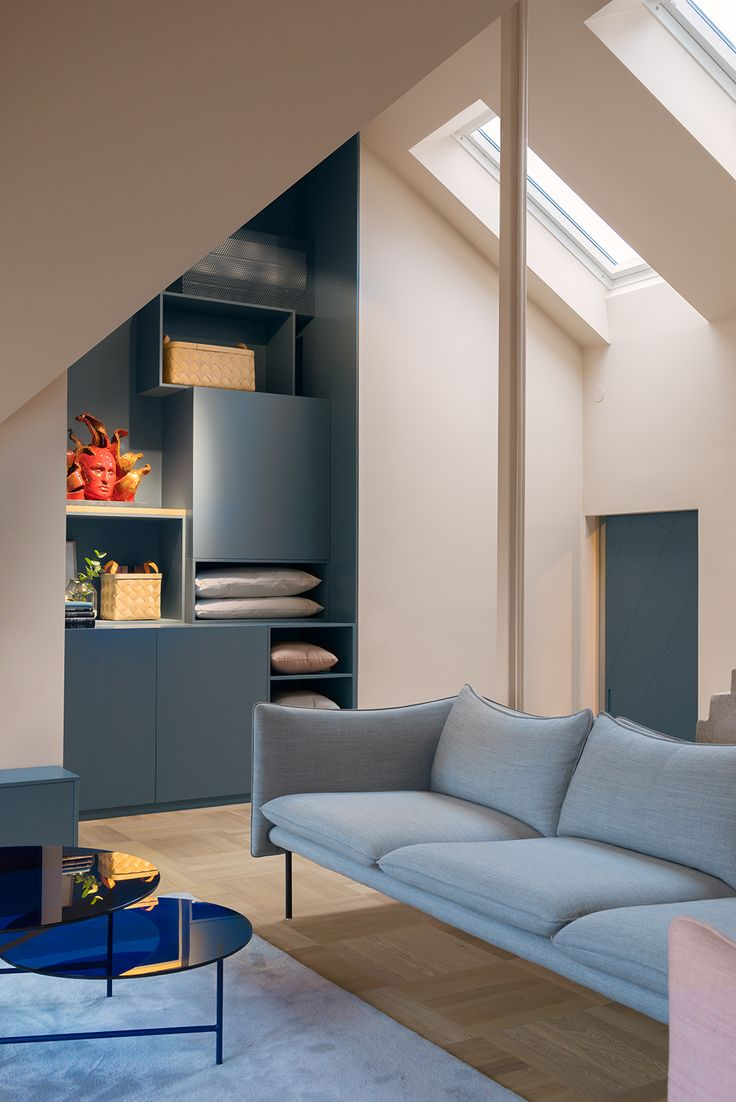 Pale blue and warm cream, soothing modernity